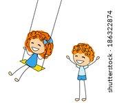 cute little kids with swing | Shutterstock .eps vector #186322874