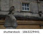 A Roman Bathouse And Bust