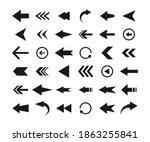 arrows big black icon set.... | Shutterstock .eps vector #1863255841