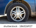 Close Up Of A Flat Tire Of A...