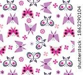 beautiful butterflies pattern... | Shutterstock .eps vector #1863290104