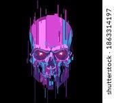 neon color cyber skull... | Shutterstock .eps vector #1863314197