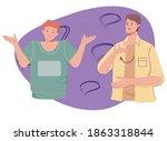 two guys communicate using sign ... | Shutterstock .eps vector #1863318844