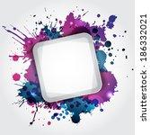 modern white frame with blue... | Shutterstock .eps vector #186332021