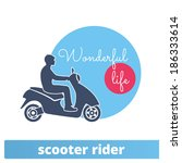 man on a scooter  vector... | Shutterstock .eps vector #186333614