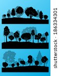 forest trees silhouettes...   Shutterstock .eps vector #186334301