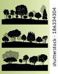 forest trees silhouettes...   Shutterstock .eps vector #186334304