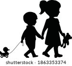 big sister and little brother... | Shutterstock .eps vector #1863353374