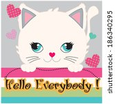 cute cat  hand draw animal ... | Shutterstock .eps vector #186340295