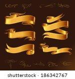 fine line set of golden design... | Shutterstock .eps vector #186342767