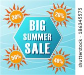big summer sale text in blue... | Shutterstock .eps vector #186345575