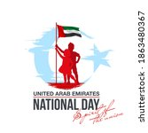 banner 49 uae national day with ... | Shutterstock .eps vector #1863480367