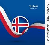 artistic wavy flag for iceland... | Shutterstock .eps vector #1863490207