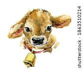 Cute Bull Calf Watercolor...