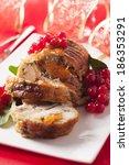 turkey breast stuffed with... | Shutterstock . vector #186353291