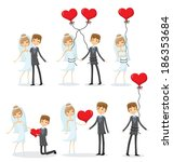 set of wedding pictures  bride... | Shutterstock .eps vector #186353684