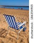 summer beach chair on sea shore ... | Shutterstock . vector #186354905