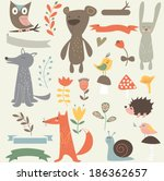 forest vector set with cute... | Shutterstock .eps vector #186362657