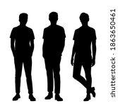 vector silhouettes of a men... | Shutterstock .eps vector #1863650461