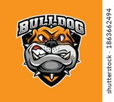 bulldog logo mascot for esport  ... | Shutterstock .eps vector #1863662494