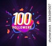 100 followers celebration in...   Shutterstock .eps vector #1863684307