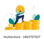 man climbs coin chart ... | Shutterstock .eps vector #1863707437
