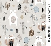 seamless childish pattern with... | Shutterstock .eps vector #1863710494
