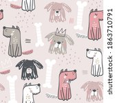 seamless childish pattern with... | Shutterstock .eps vector #1863710791