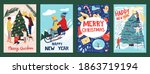 christmas greeting cards.... | Shutterstock .eps vector #1863719194