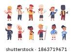kids in costumes. cartoon happy ... | Shutterstock .eps vector #1863719671