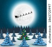 santa claus flies with gifts on ... | Shutterstock . vector #1863720997