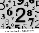 Numbers digits characters figures background color - stock photo