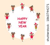 happy new year 2021 card  set...   Shutterstock . vector #1863744271