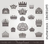 vintage silhouette crown labels set