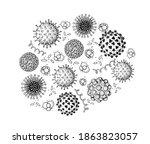 different kinds of virus ... | Shutterstock .eps vector #1863823057