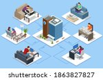 isometric business man amd... | Shutterstock . vector #1863827827