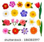 big collection of colorful... | Shutterstock . vector #186383597