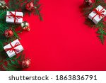 gift boxes and festive decor.... | Shutterstock . vector #1863836791
