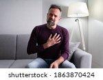 elder man with chest pain. sick ... | Shutterstock . vector #1863870424
