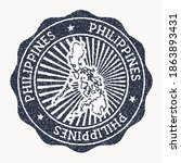 philippines stamp. travel... | Shutterstock .eps vector #1863893431
