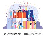 people with present. smile... | Shutterstock .eps vector #1863897907
