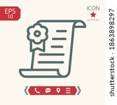 diploma line icon  outline... | Shutterstock .eps vector #1863898297