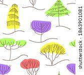 seamless pattern with trees in... | Shutterstock .eps vector #1863901081