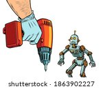 repair of robotics concept. the ... | Shutterstock .eps vector #1863902227
