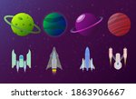 set of planets and spaceships.... | Shutterstock .eps vector #1863906667