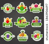 fruit badges. natural fresh... | Shutterstock .eps vector #1863906697