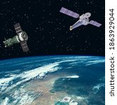 satellites above the earth. the ...   Shutterstock . vector #1863929044