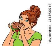 a woman eats a burger. comics... | Shutterstock .eps vector #1863930364