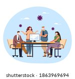 people colleague office workers ... | Shutterstock .eps vector #1863969694