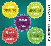 spring offer stickers | Shutterstock .eps vector #186397115
